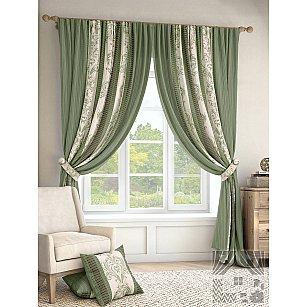 """Комплект штор """"Иниц"""", зеленый, 280 см-A"""