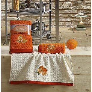"Набор кухонных полотенец ""KARNA LEMON"" Оранжевый, v1, 45*65 см - 2 шт"