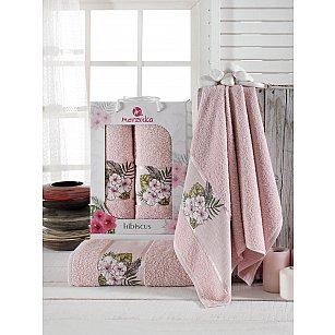 Комплект махровых полотенец Merzuka Hibiscus (50*80; 70*130), розовый