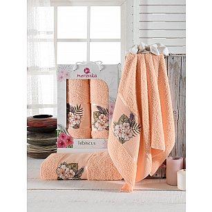 Комплект махровых полотенец Merzuka Hibiscus (50*80; 70*130), оранжевый