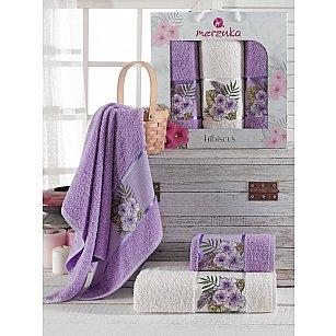 Комплект махровых полотенец Merzuka Hibiscus (50*80*2; 70*130), лиловый