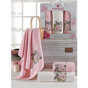 Комплект махровых полотенец Merzuka Hibiscus (50*80*2; 70*130), светло-розовый
