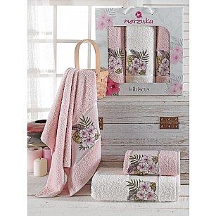 Комплект махровых полотенец Merzuka Hibiscus (50*80*2; 70*130), розовый