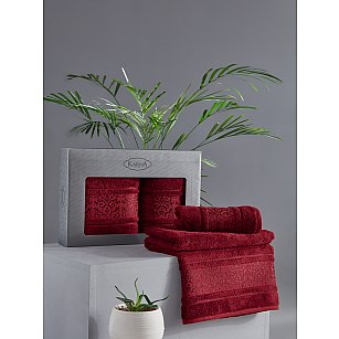 "Комплект из 2-х полотенец бамбук ""KARNA ARMOND"" (50*90; 70*140), бордовый"