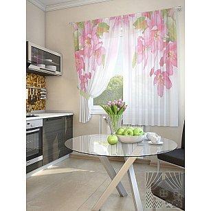 """Фотошторы для кухни """"Зола"""", белый, розовый, 180 см"""