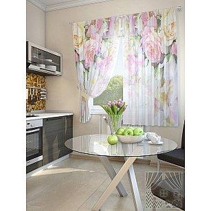 """Фотошторы для кухни """"Шозер"""", розовый, кремовый, 180 см"""