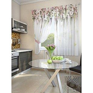 """Комплект штор """"Зифора"""", белый, розовый, 180 см"""