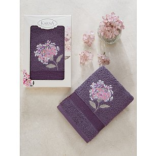 """Полотенце махровое в коробке """"KARNA OPAK"""", фиолетовый, 50*90 см"""
