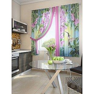 """Фотошторы для кухни """"Гарц"""", зеленый, розовый, 180 см"""