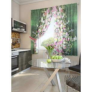 """Фотошторы для кухни """"Дунч"""", зеленый, 180 см"""