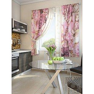 """Фотошторы для кухни """"Фловер"""", розовый, 180 см"""