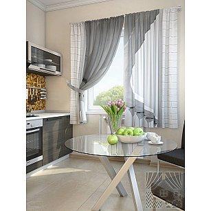 "Фотошторы для кухни ""Кайто"", серый, белый, 180 см"