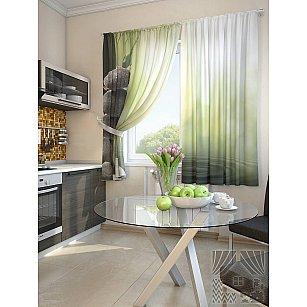 """Фотошторы для кухни """"Ружун"""", белый, зеленый, 180 см"""