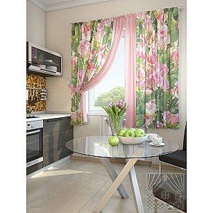 """Фотошторы для кухни """"Шип"""", розовый, зеленый, 180 см"""
