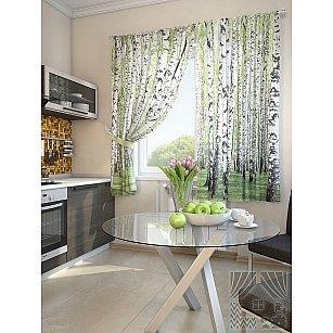 """Фотошторы для кухни """"Берез"""", белый, зеленый, 180 см"""