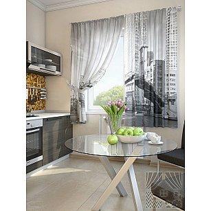 "Фотошторы для кухни ""Валд"", серый, 180 см"