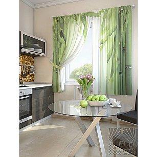 """Фотошторы для кухни """"Лозер"""", зеленый, 180 см"""
