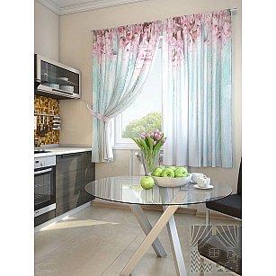 """Фотошторы для кухни """"Жалин"""", голубой, розовый, 180 см"""