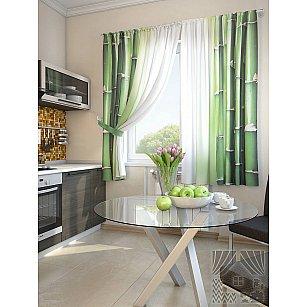 """Фотошторы для кухни """"Зирак"""", зеленый, белый, 180 см"""