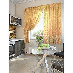 """Фотошторы для кухни """"Оранж"""", оранжевый, 180 см"""