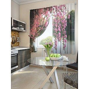"""Фотошторы для кухни """"Лайни"""", розовый, 180 см"""