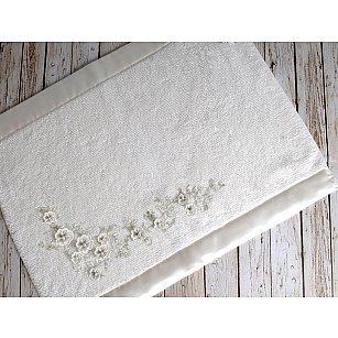 """Махровое кружевное полотенце для ног """"IRYA BRIDE Mолочный"""", 60*90 см"""