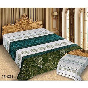 Покрывало Barokko №15-021, белый, зеленый, 150*220 см