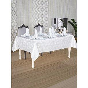 Скатерть с салфетками с люрексом Do&Co, серебряная, 160*220 см