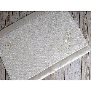 """Махровое кружевное полотенце для ног """"IRYA ROSE Mолочный"""", 60*90 см"""