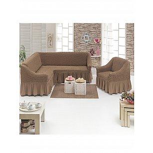 """Набор чехлов для углового дивана и кресла """"DO&CO"""" 3+1, серо-коричневый"""