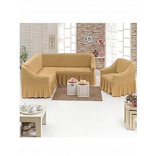 """Набор чехлов для углового дивана и кресла """"DO&CO"""" 3+1, медовый"""