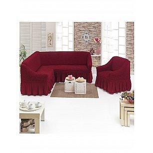 """Набор чехлов для углового дивана и кресла """"DO&CO"""" 3+1, бордовый"""
