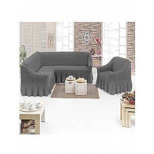 """Набор чехлов для углового дивана и кресла """"DO&CO"""" 3+1, серый"""