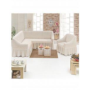 """Набор чехлов для углового дивана и кресла """"JUANNA"""" 3+1, кремовый"""