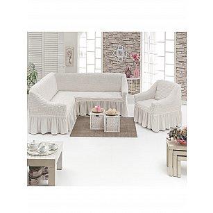 """Набор чехлов для углового дивана и кресла """"DO&CO"""" 3+1, натуральный"""