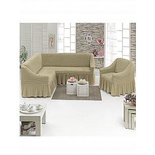 """Набор чехлов для углового дивана и кресла """"DO&CO"""" 3+1, молочный"""