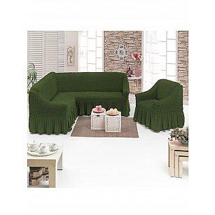 """Набор чехлов для углового дивана и кресла """"DO&CO"""" 3+1, оливковый"""