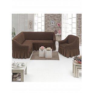 """Набор чехлов для углового дивана и кресла """"DO&CO"""" 3+1, шоколадный"""