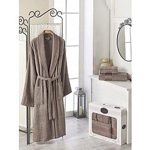Набор из мужского халата и полотенец DO&CO GOLD, темно-бежевый