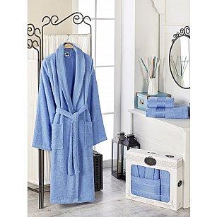 Набор из мужского халата и полотенец DO&CO GOLD, голубой