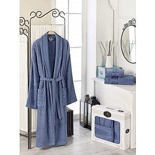 Набор из мужского халата и полотенец DO&CO GOLD, темно-голубой