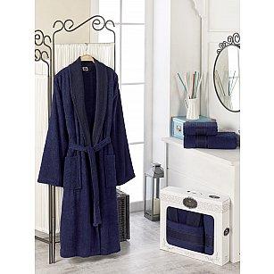 Набор из мужского халата и полотенец DO&CO GOLD, синий