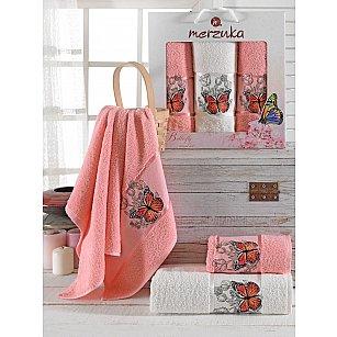 Комплект махровых полотенец Merzuka Butterfly (50*80*2; 70*130), персиковый
