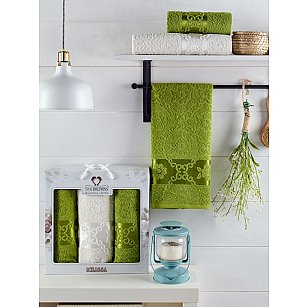 Комплект махровых полотенец TWO DOLPHINS MELISSA (50*90*2; 70*140), зеленый