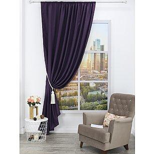 Штора блэкаут лен Amore Mio RR 104-35, фиолетовый, 200*270 см
