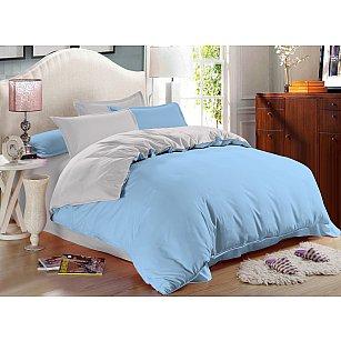 КПБ сатин однотонный Alaska (2 спальный), голубой, серый