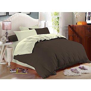 КПБ сатин однотонный Cappuccino (2 спальный), темно-коричневый, светло-зеленый