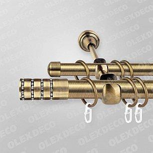 Карниз металлический «Дорадо», 2-рядный, антик, гладкая труба, 301 см, ø25 мм-A