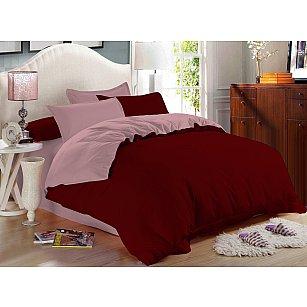 КПБ сатин однотонный Garnet, бордовый, розовый