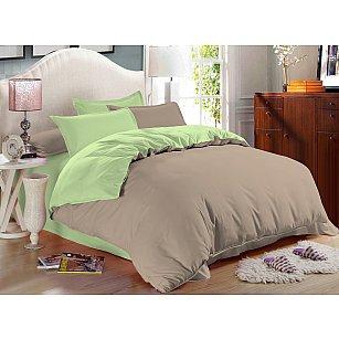 КПБ сатин однотонный Bounty с простыней на резинке (2 спальный), бежевый, зеленый